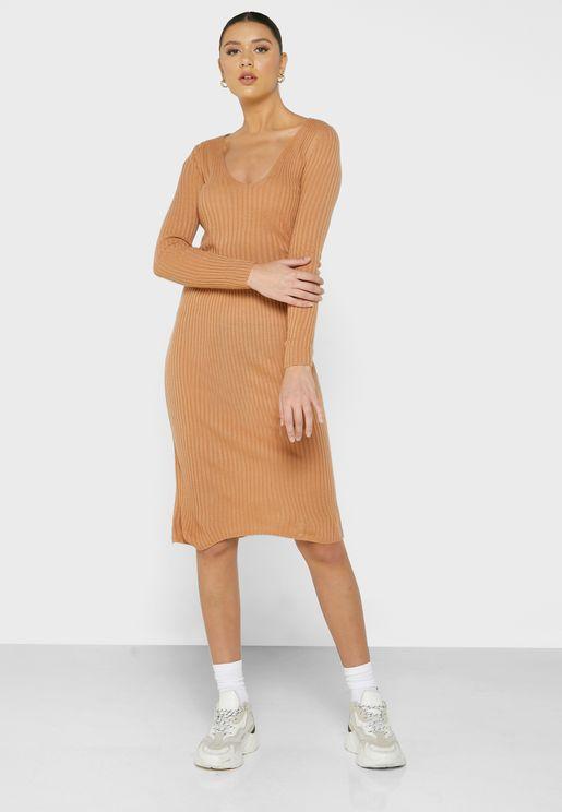 Ribbed Midi Skirt Set