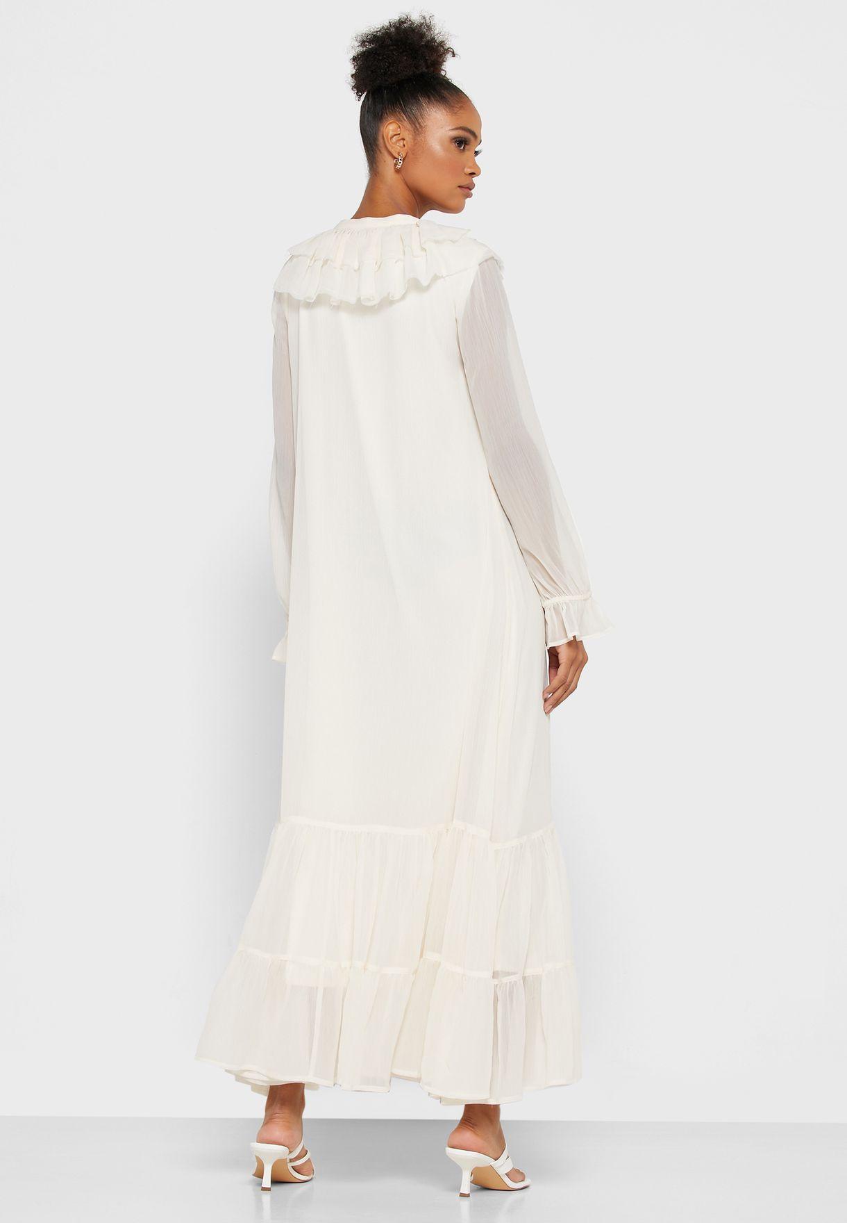 فستان شيفون مزين بكشكش
