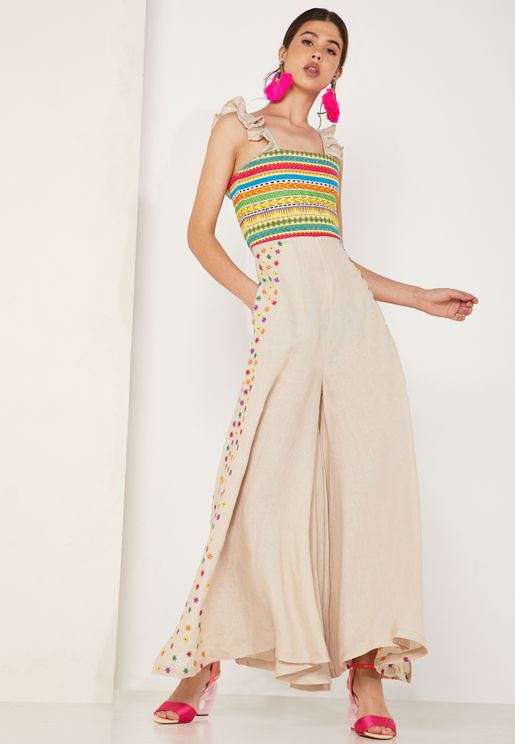 Elena Embroidered Detail Sleeveless Jumpsuit