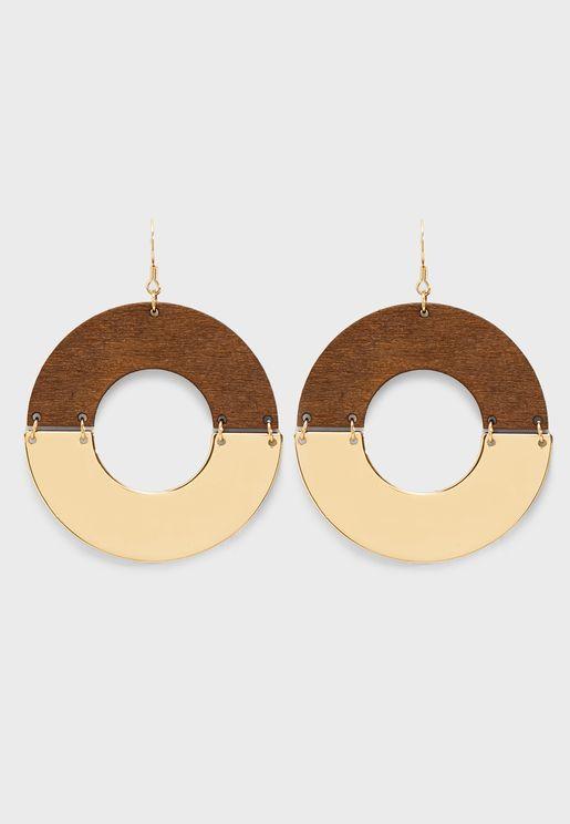 Wood & Metallic Hoop Drop Earrings