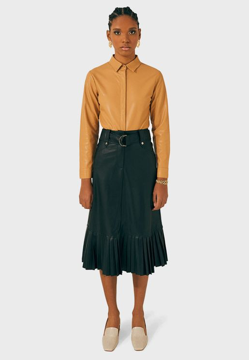 Pleated Hem Leather Skirt