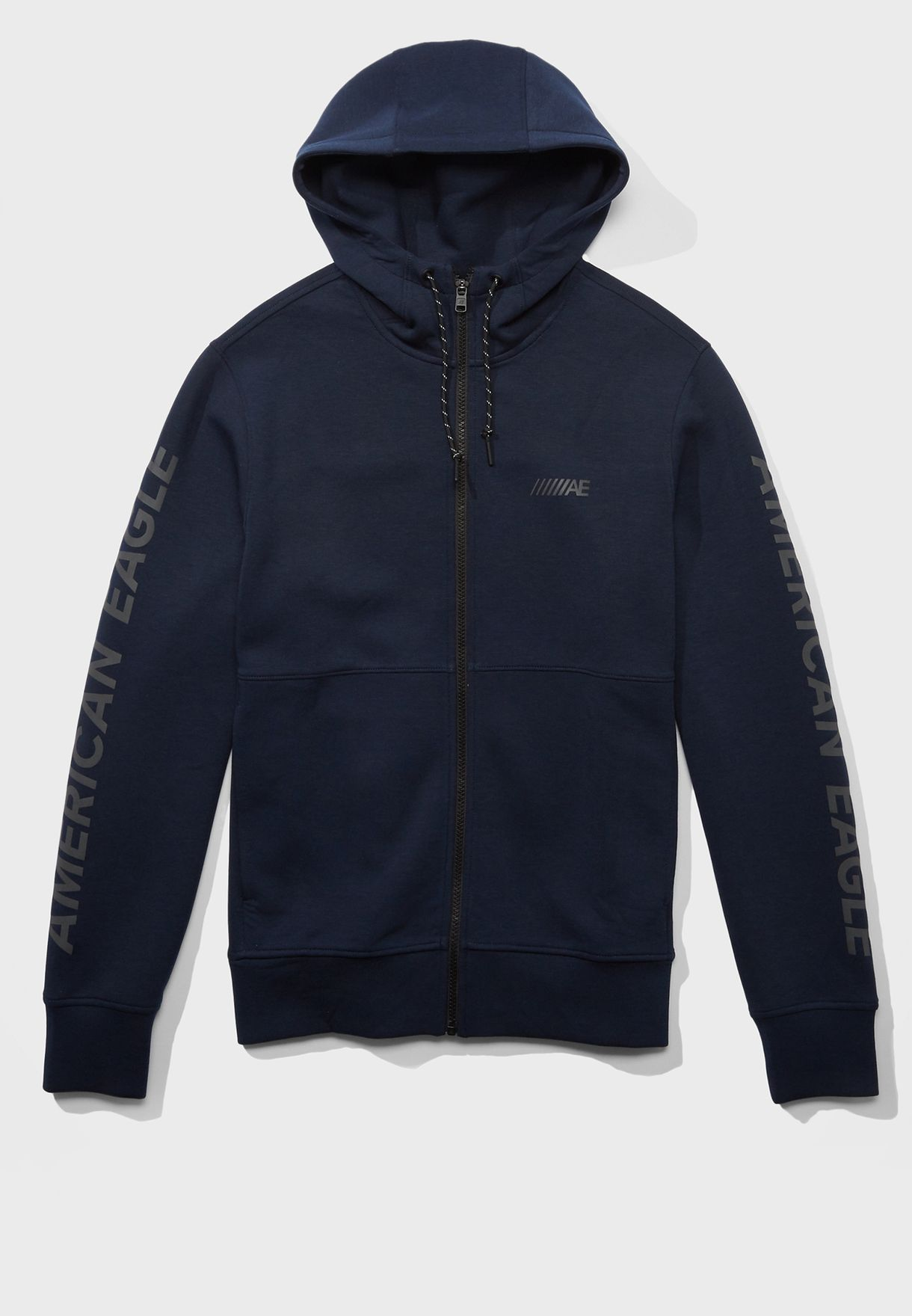 Logo Sleeve Zip Through Hoodie