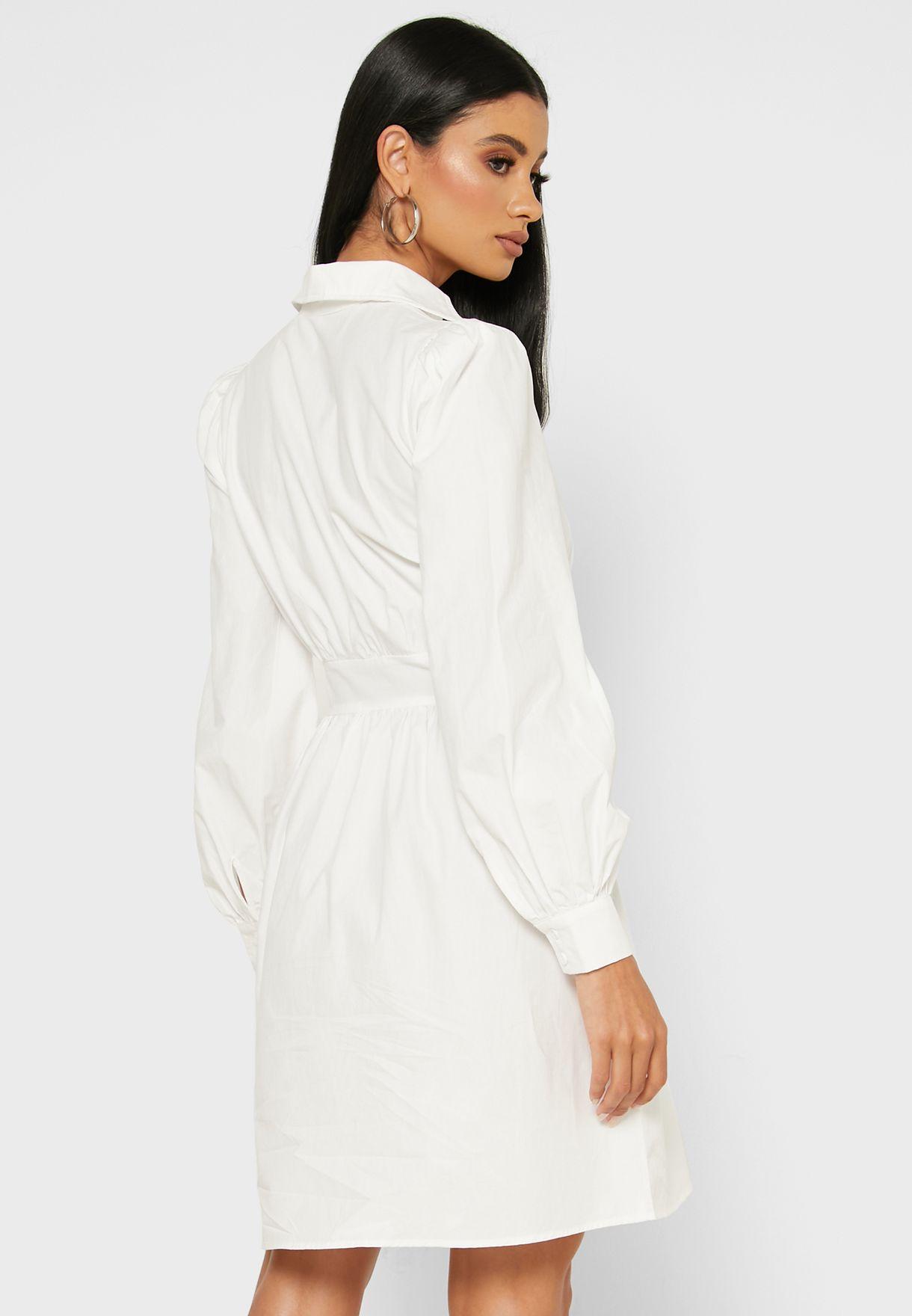 Puffed Sleeve Shirt Mini Dress