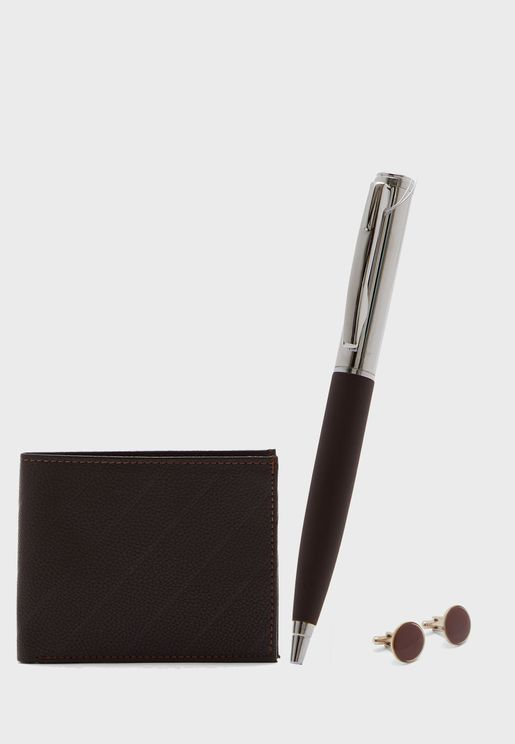 Wallet, Pen And Cuff Link Gifting Set