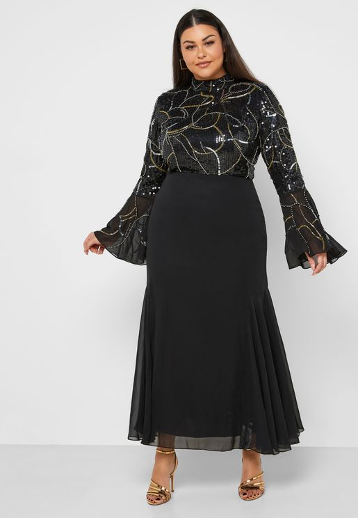 High Neck Flute Sleeve Embellished Dress