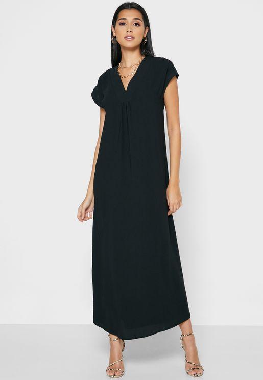 Ruched Detail V-Neck Dress