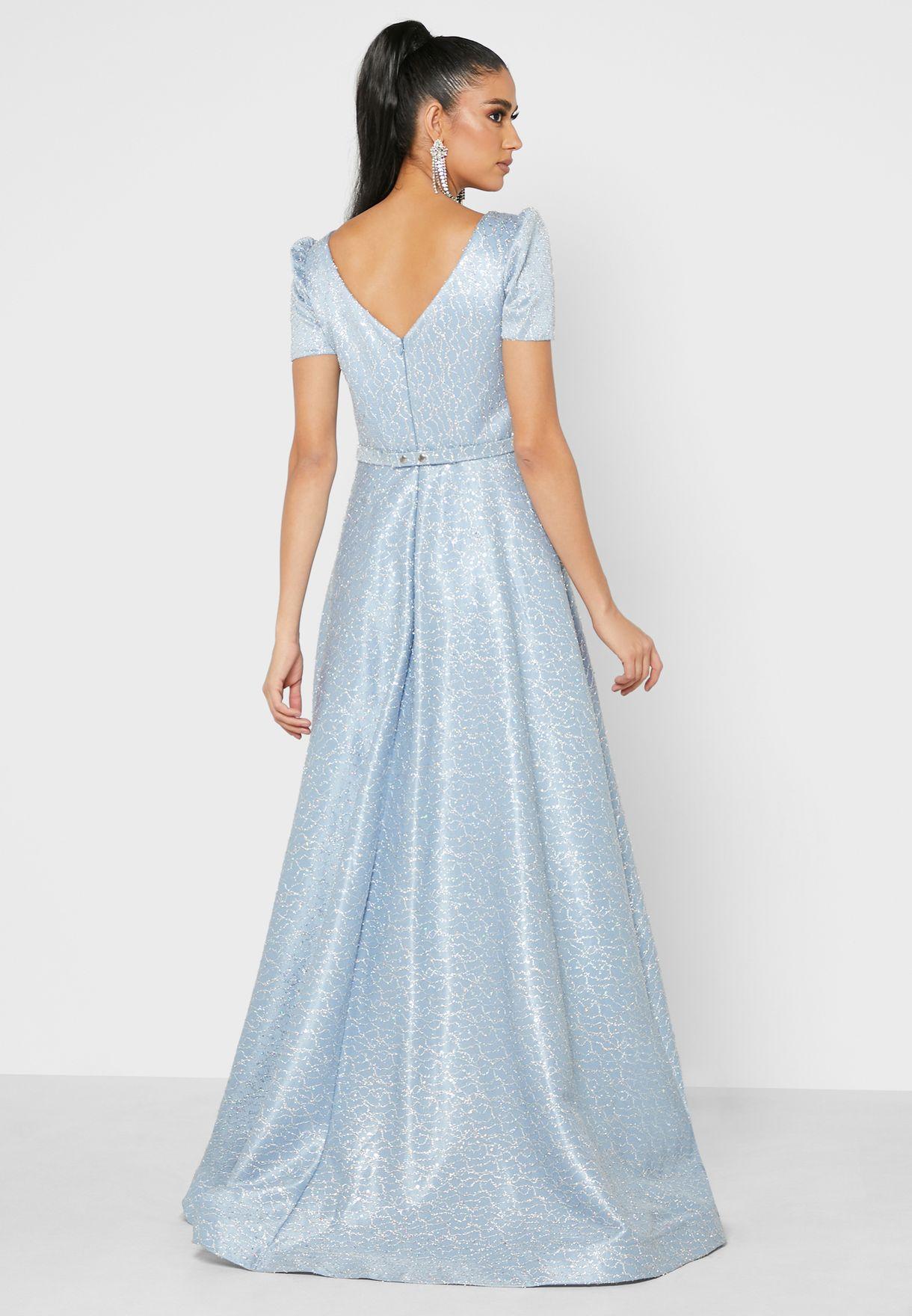 Metallic Shimmer Plunge Neck Dress