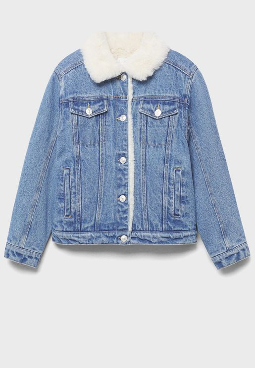 Kids Faux Fur Denim Jacket