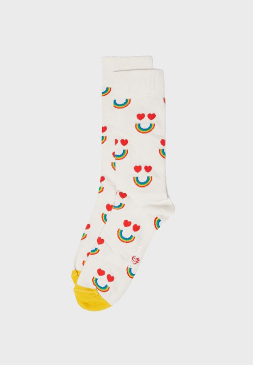 Happy Rainbow Crew Socks