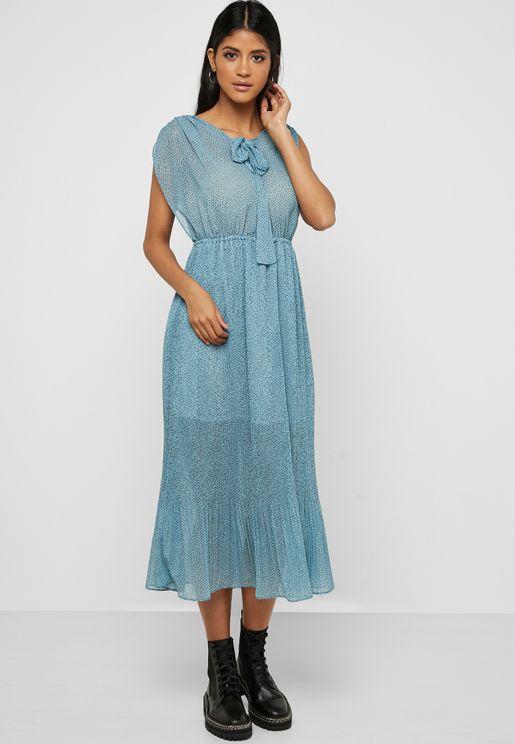 فستان ميدي بأجزاء شبك وطبعات نقاط بولكا