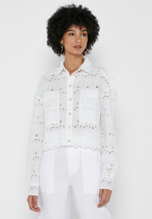 Denver Lace Cropped Shacket