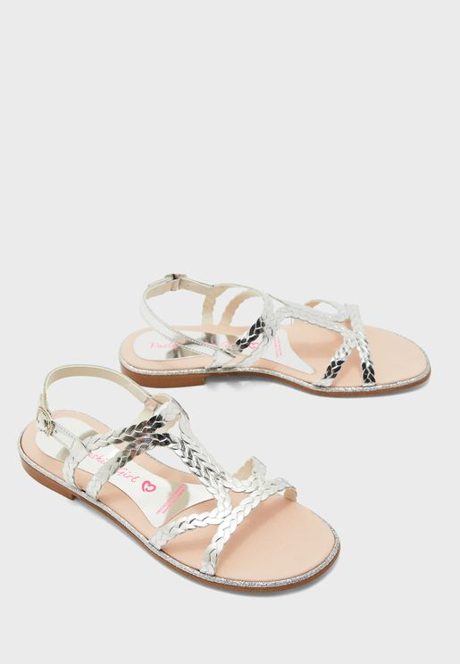 Youth Braid Detail Cross Strap Sandal