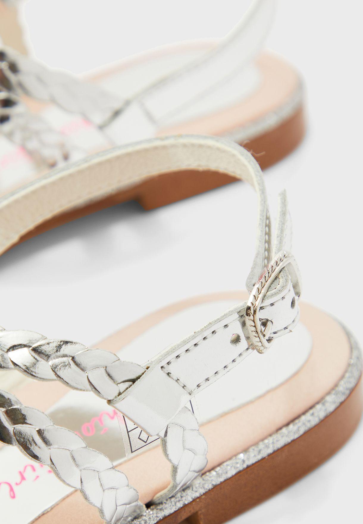 Youth Braid Detail Cross Strap Sandal