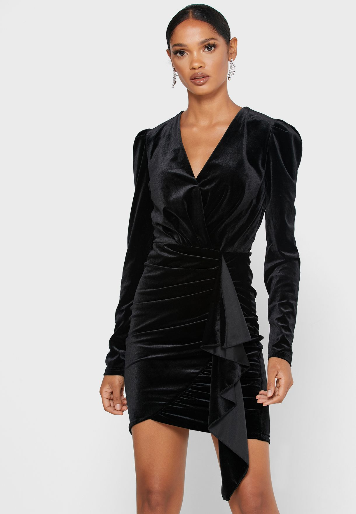 Velvet Wrap Front Mini Dress