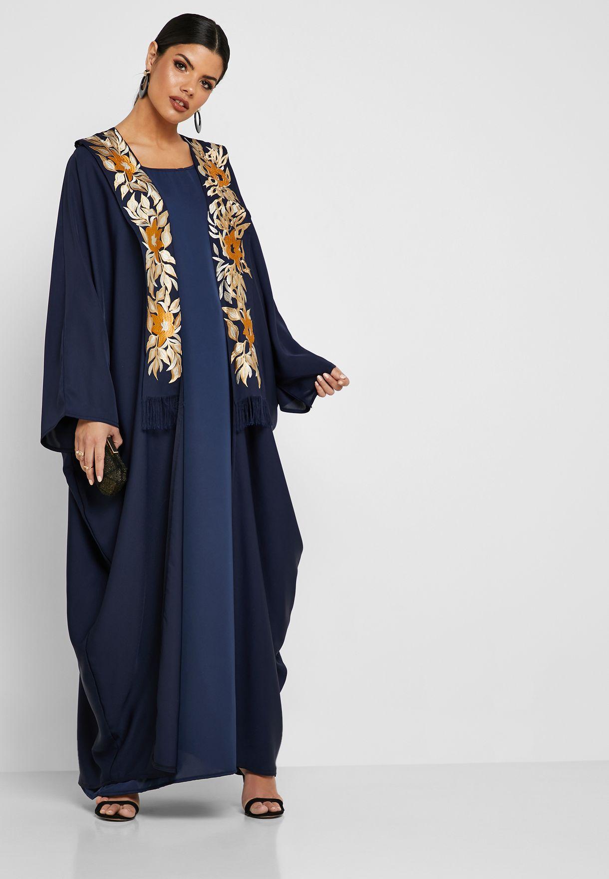 fb65a77ec93ab تسوق عباية وفستان مطرزة ماركة هيا كلوزيت لون كحلي awn - 161 في ...