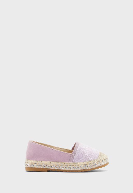 حذاء باليرينا مزين بترتر