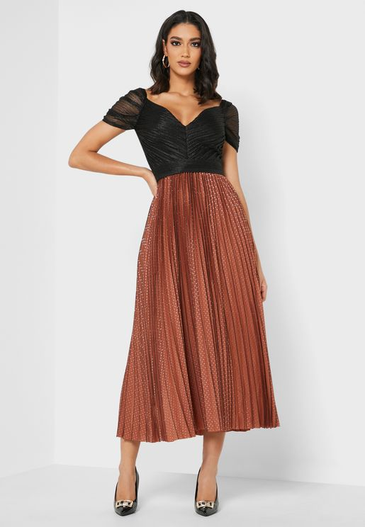 V-neck Pleated Dress