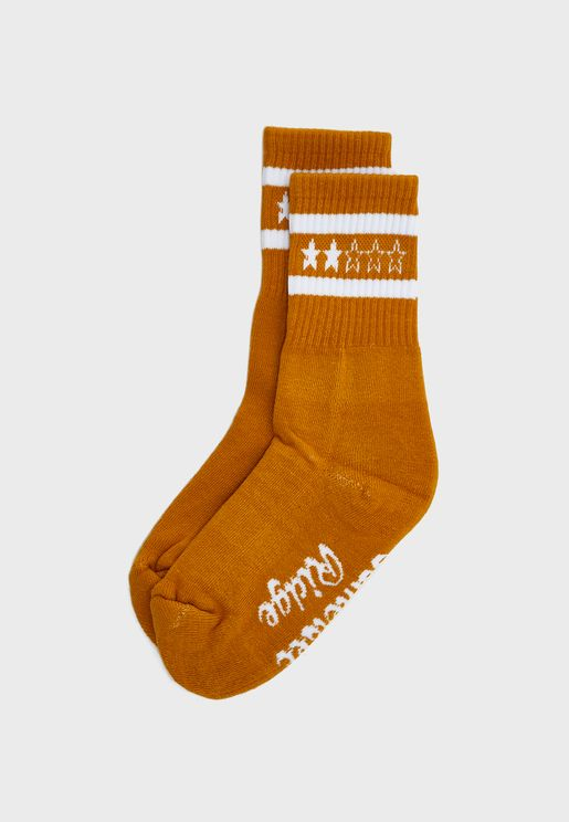 Striped Detail Slogan Socks