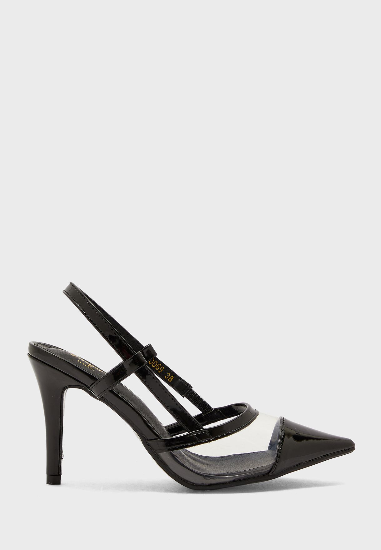 Pointed Slingback Stiletto With Perplex And Cutout Straps