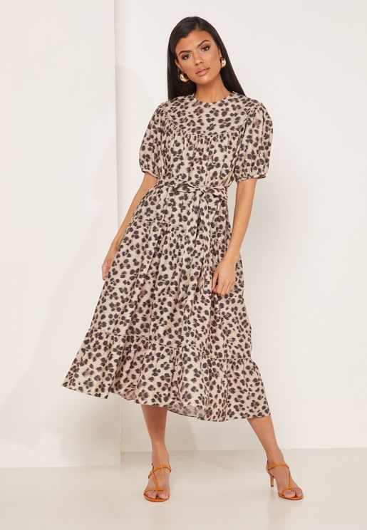 Rego Leopard Print Belted Tiered Maxi Dress