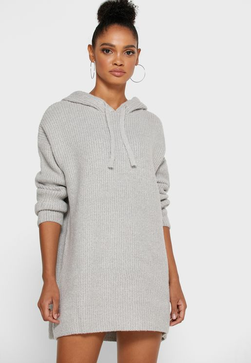 Textured Hooded Dress