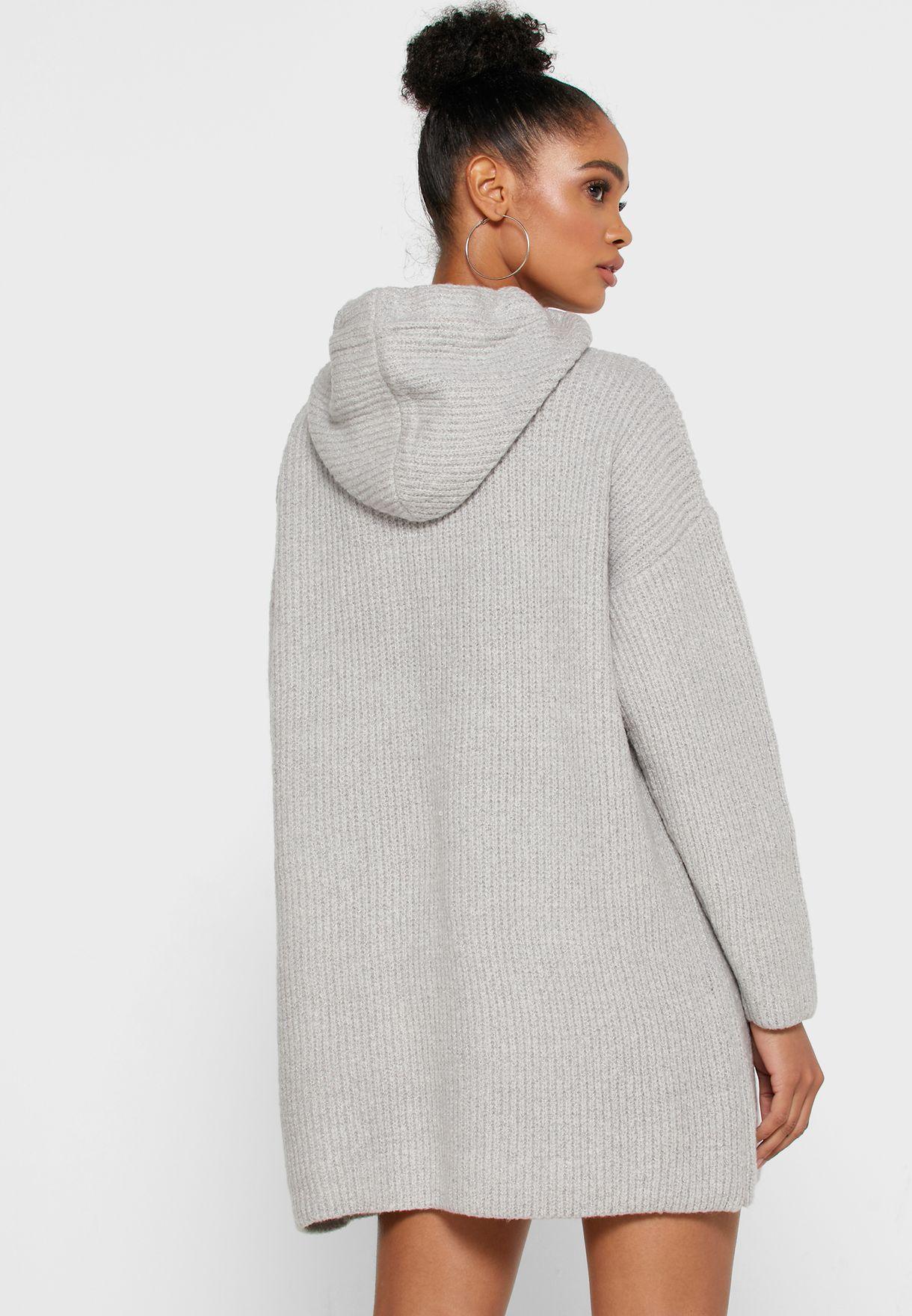 Textured Hooded Dress
