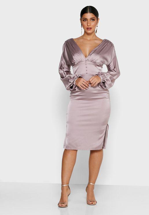 Tie Waist Pleat Detail Balloon Sleeve Dress
