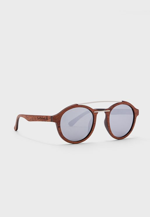 Oval Shape Wooden Sunglasses