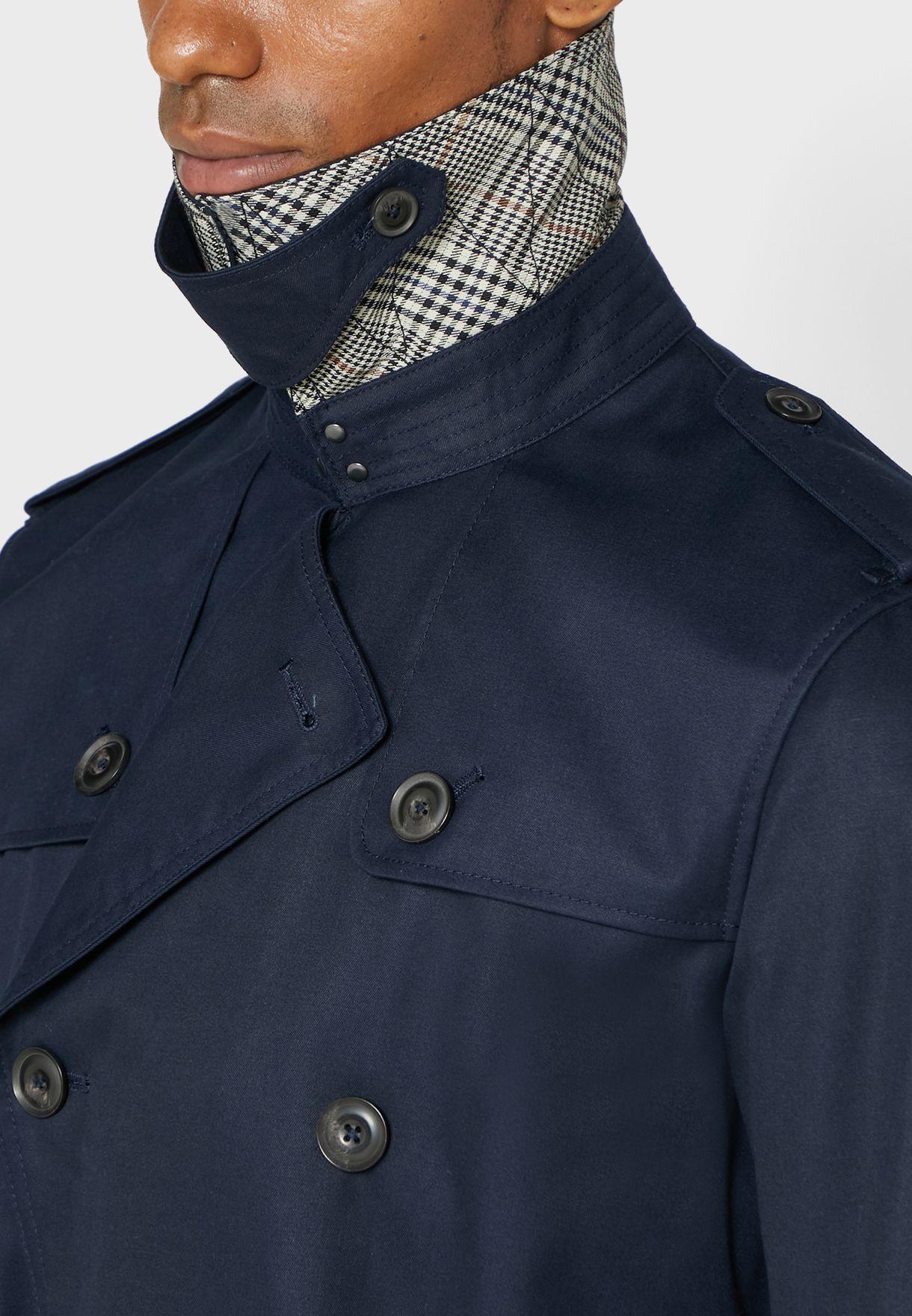 معطف طويل مع حزام خصر