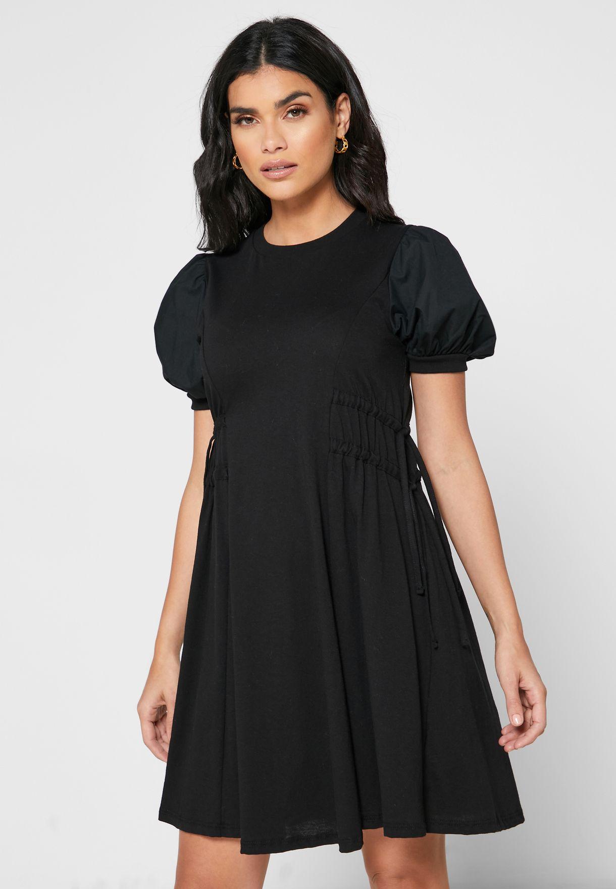 فستان ميني باربطة جانبية
