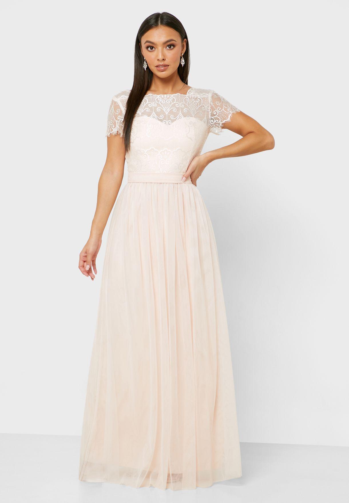Mesh Plisse Dress