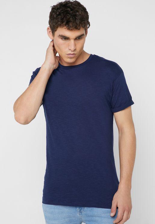 Basic  Roll Sleeve Crew Neck T-Shirt