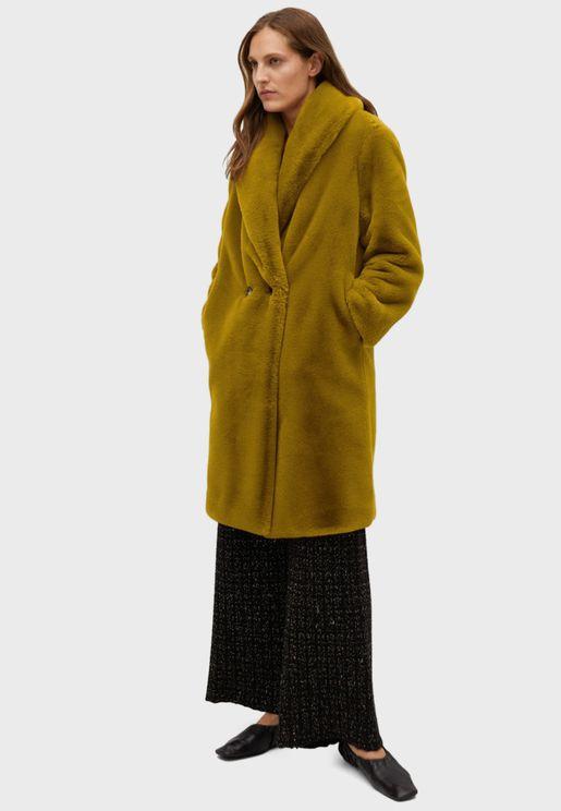 معطف طويل فرو