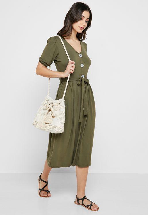 d44a02eebb6 Button Detail Belted Dress