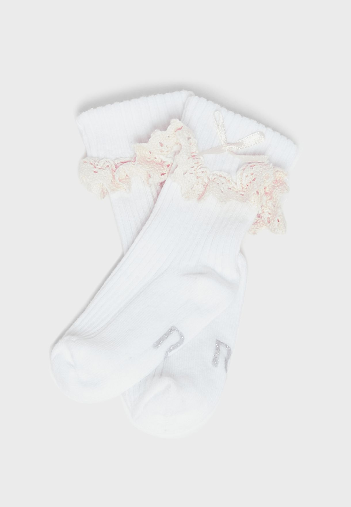 Infant 2 Pack Lace Frill Box Socks