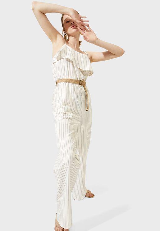 Belt Detail Striped Jumpsuit