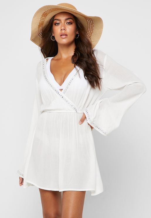 Mirror Trim Wrap Beach Dress