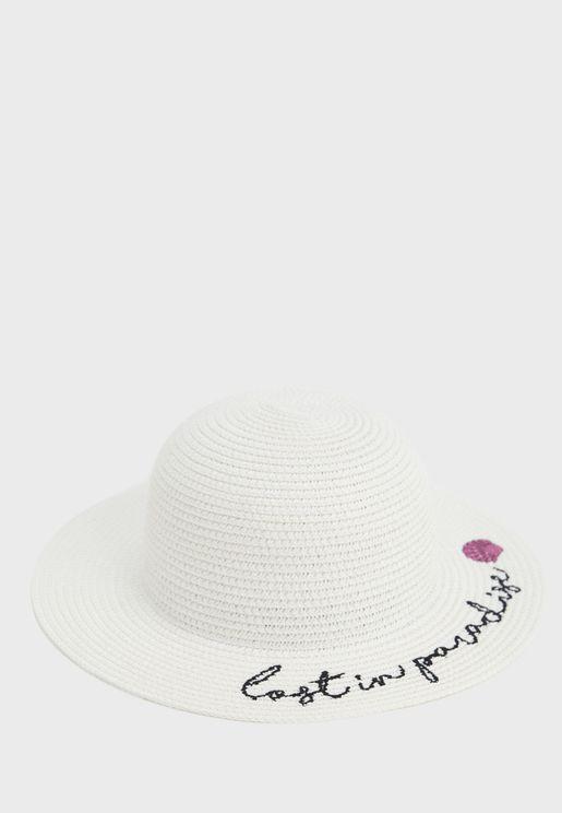 Kids Embroidered Straw Hat
