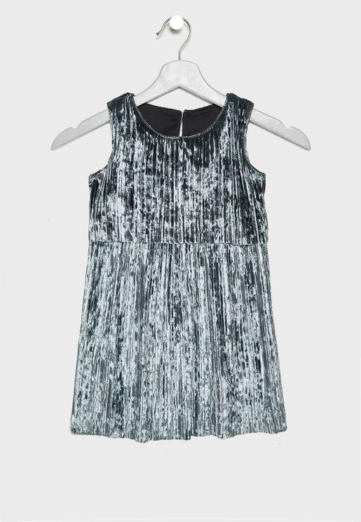 Little Pleated Velvet Dress
