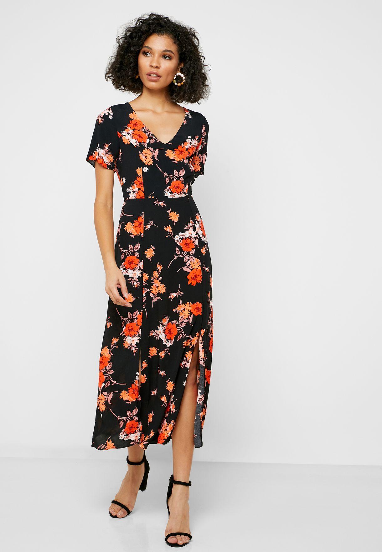 Asymmetric Floral Print Dress