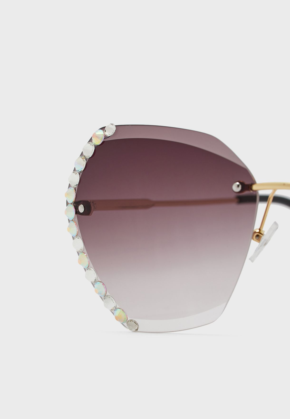 Oversized Hexagon Sunglasses With Crystal Edge