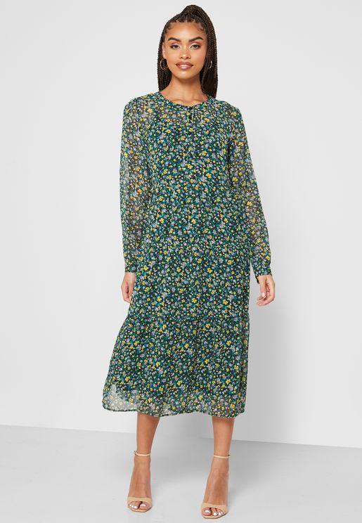 Mesh Detail Ditsy Dress