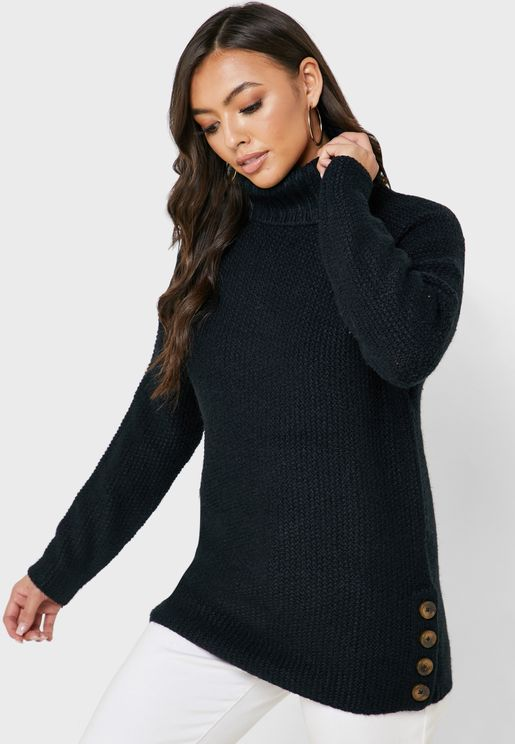 Button Detail Roll Neck Sweater