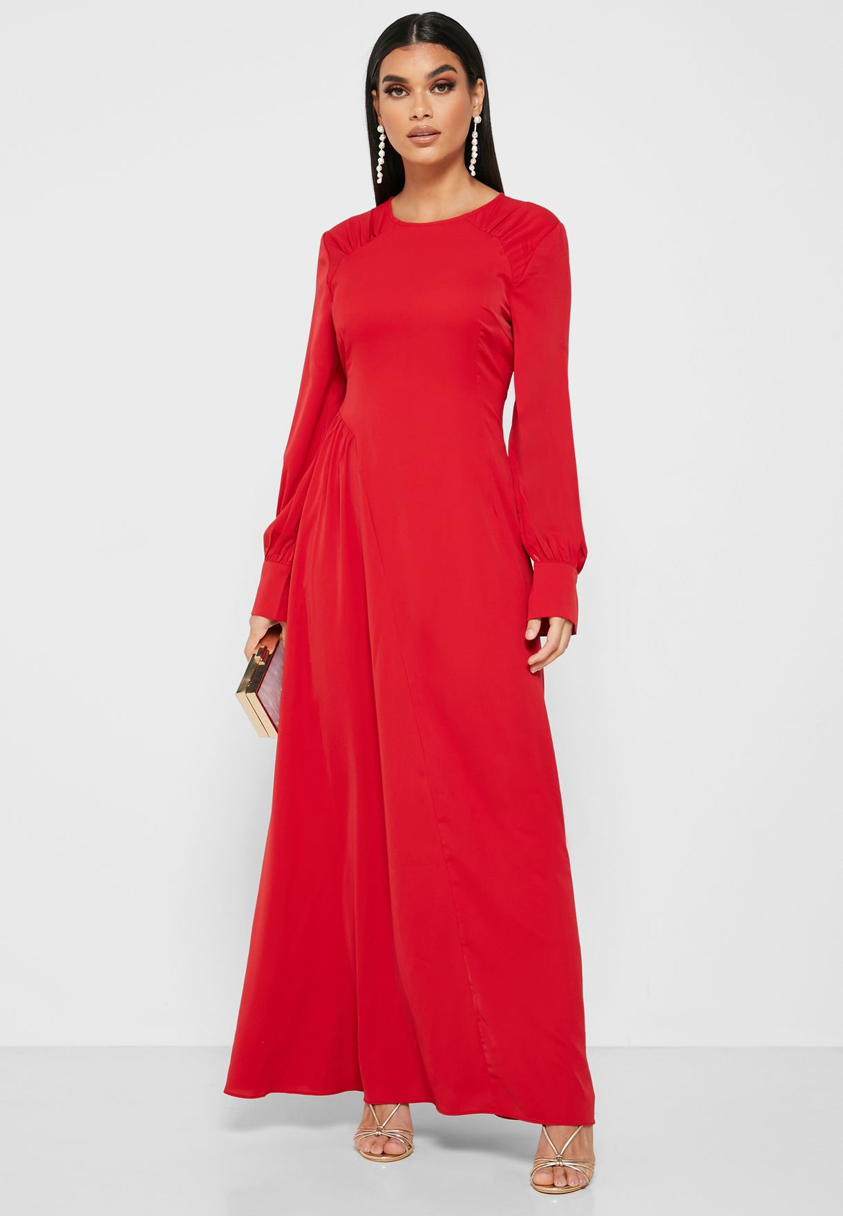 Gathered Shoulder Maxi Dress