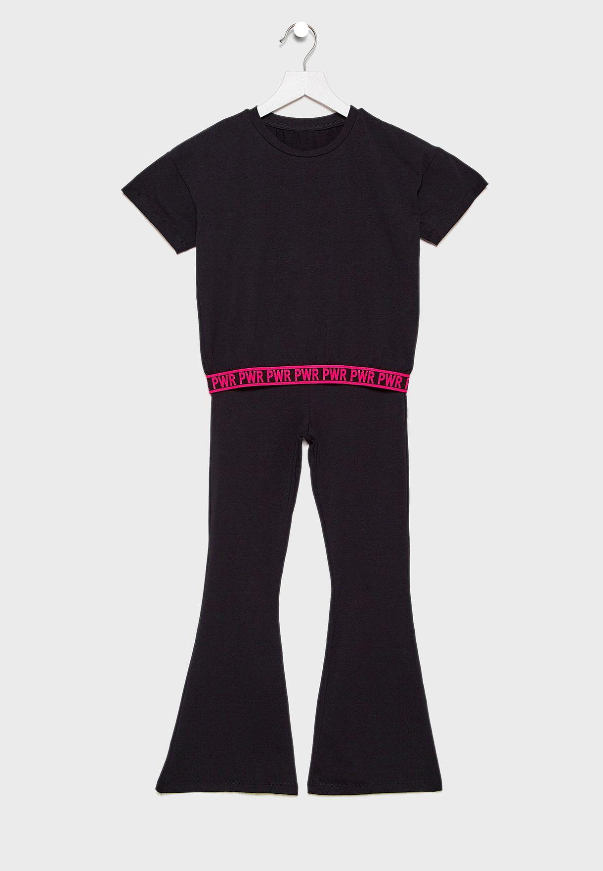 Kids Slogan Top + Trouser Set