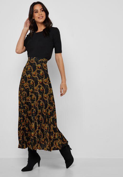 Pleated Printed Midi Skirt