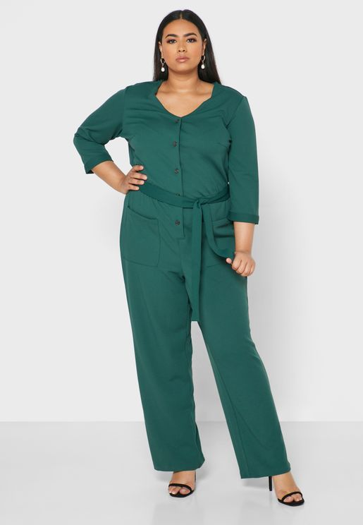 Button Detail Belted Jumpsuit