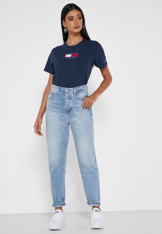 Mid Wash Mom Jeans
