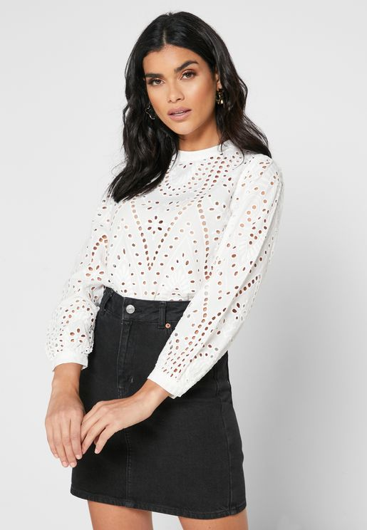 Broderie High Neck Top