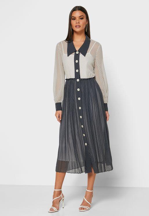 Dr Fozette Colorblock Shirt Dress